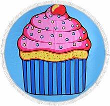 Ahorn & Home Custom Pink Eis Muster Strandtuch–Tischdecke, rund, Wand Wandbehang Strand Decke Yoga Matte Sonnenschutz Schal Wrap Rock Fransen Baumwolle Tischdecke Home Deco Yoga Picknick Matte