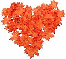 Ahornblätter Herbst Blätter Künstliche Hochzeit Garten Dekoration, 50Stück (Wind-rot)