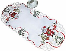 AHS Tischläufer mit Weihnachtsmann-Muster, oval,