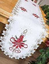 AHS Tischläufer Weihnachten weiß mit roten