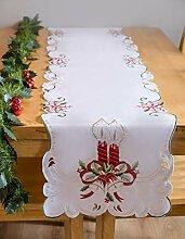 AHS Tischläufer weihnachtlich, 40 x 200 cm, weiß