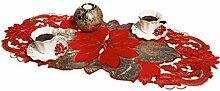 AHS Tischläufer, Weihnachtsstern, oval, 40 x 90