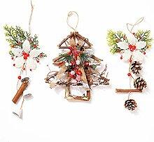 AHUA Weihnachtskränze, handgefertigt, Rattan,