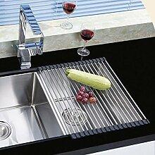 Ahyuan Aufrollbares Abtropfgestell, Edelstahl, über Waschbecken verwendbar, für Küche, schwarz, 45x 33 cm (L x B)