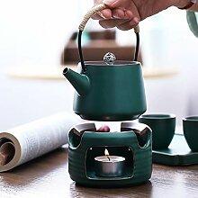 AI XIN Große Porzellan-Teekanne mit Stövchen,