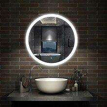 Aica Sanitär LED Badspiegel rund 60 cm Touch