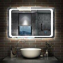 AicaSanitär LED Spiegel 80×60cm Badspiegel mit
