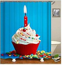 AieniD Bad Vorhang Mit Magnet Kuchen Kerze Blau