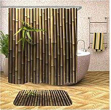 AieniD Duschvorhang Dunkel Grau Bambus Bunt