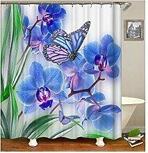 AieniD Duschvorhang Durchsichtig Blumen Und