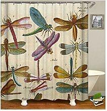 AieniD Duschvorhang Durchsichtig Fest Libellen