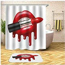 AieniD Duschvorhang Durchsichtig Grau Lippenstift