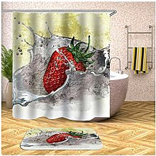 AieniD Duschvorhang Durchsichtig Lang Erdbeere
