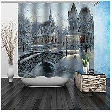 AieniD Duschvorhang Durchsichtig Schloss Grau