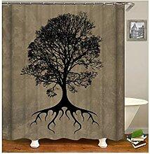 AieniD Duschvorhang Durchsichtig Taschen Baum