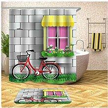 AieniD Duschvorhang Durchsichtig Taschen Fahrrad