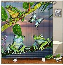 AieniD Duschvorhang Durchsichtig Taschen Frosch