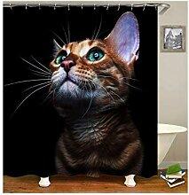 AieniD Duschvorhang Durchsichtig Taschen Katze