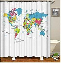 AieniD Duschvorhang Durchsichtig Taschen Weltkarte