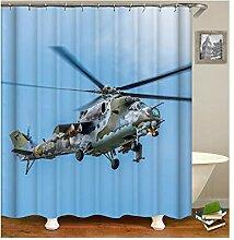 AieniD Duschvorhang Klar Taschen Hubschrauber Blau