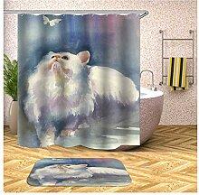 AieniD Duschvorhang Klar Taschen Katze Weiß