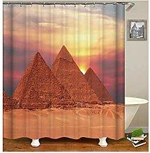 AieniD Duschvorhang Klar Taschen Pyramide Braun