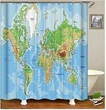 AieniD Duschvorhang Klar Taschen Weltkarte Bunt