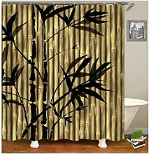 AieniD Duschvorhang Transparent Lang Bambus Bunt