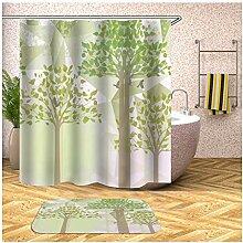 AieniD Duschvorhang Transparent Taschen Bäume