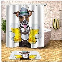 AieniD Duschvorhang Transparent Taschen Mr. Dog