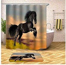 AieniD Duschvorhang Transparent Taschen Pferd