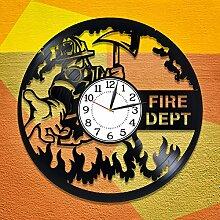 AiEnmaw Feuerwehr-Vinyluhr für Herren,