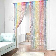 AIFENTE 2 Stück Regenbogen Farben Vorhang Fransen