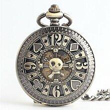 Aihifly Kreativer Schürhaken schnitzte Retro- Taschenuhr-Hohle Mechanische Taschenuhr-Bronze mit Kette