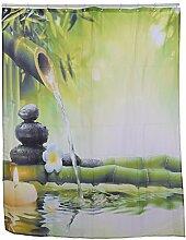 aihome mildew-free wasserabweisend Stoff Duschvorhang Bambus Badezimmer Liner mit 12Haken, Polyester, A
