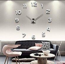 Ailier® DIY Wanduhr Moderne Groß Schwarz Schlafzimmer 3D Acryl Spiegel Wall Clock Mirror Surface Stickers Home Decoration Wanduhren (Durchmesser:70-100 cm, M015-Silber) (Silber-002, L)