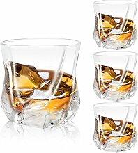AIMONLIE Whisky Gläser, Luxus Kristall Gläser Set, Non-Leaded Clarity Whiskyglas, Wein Zubehör,Set von 4 Gläser für Wein, Cocktails oder Saf