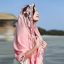 AINIF Sommer - Spitzen, Nationalen Stil Sonnenschutz Schal, Thailand Strandstrand Schal, 174 * 70Cm,Pink