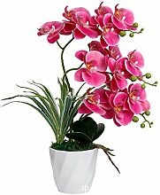 AIOXY Kunstpflanze Orchidee mit Weißer Blumentopf