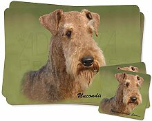 Airedale Terrier with Love Zwillings Platzdeckchen