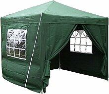 Airwave Pop-Up-Pavillon, 2,5 x 2,5 m, grün, wasserfester GartenPavillon, 2 Windstangen und 4 Gewichte für die Beine