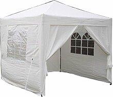 Airwave Pop-Up-Pavillon, 2,5 x 2,5 m, weiß, wasserfester GartenPavillon, 2 Windstangen und 4 Gewichte Taschen für die Beine