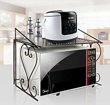 AISHN Stabiles Mikrowellen-Regal aus Metall Storage Racks Teflon Select Processing Decoration Küchenregal aus Metall für Mikrowelle Bronze