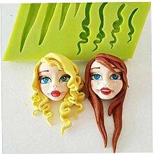 Aisoway 3D Haar Silikon-Form-Fondant-Form-Kuchen,