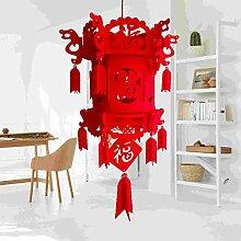 Aisoway Chinesische Laterne Beflockung Knoten Red