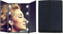 AIU Kosmetikspiegel Make Up Spiegel Klappspiegel mit 8-LEDs Schminkspiegel Tischspiegel -3 Seitig Faltbar (schwarz)