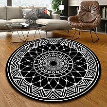 Aiyaoo Teppich Wohnzimmer Rund 200cm Ethnische Art