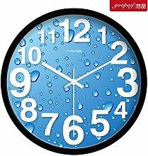 AIZIJI Blue Creative stilvolle und einfache digitale Wohnzimmer groß Uhren moderne mute Home Dekoration im Schlafzimmer, 25 cm Wanduhr