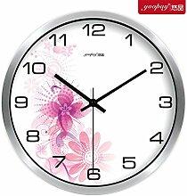 AIZIJI Blume Uhren eleganten und innovativen und frischen Garten Lounge Schlafzimmer mute Wanduhr modern, 35 cm Quarzuhr