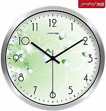 AIZIJI Blume Uhren eleganten und innovativen und frischen Garten Lounge Schlafzimmer mute Wanduhr modern, 30 cm Quarzuhr